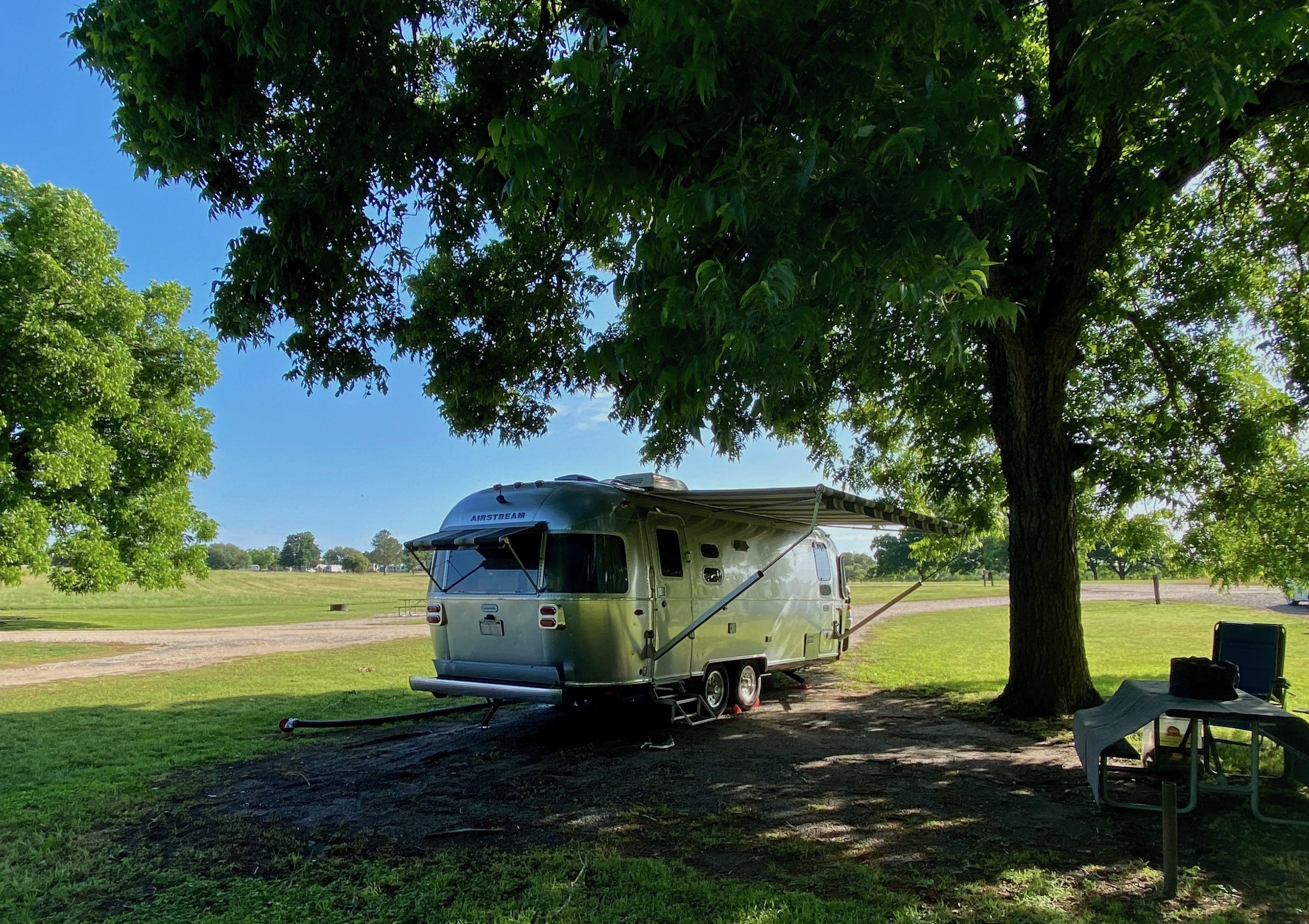 Travel trailer camping on a privately owned RV lot in Texas